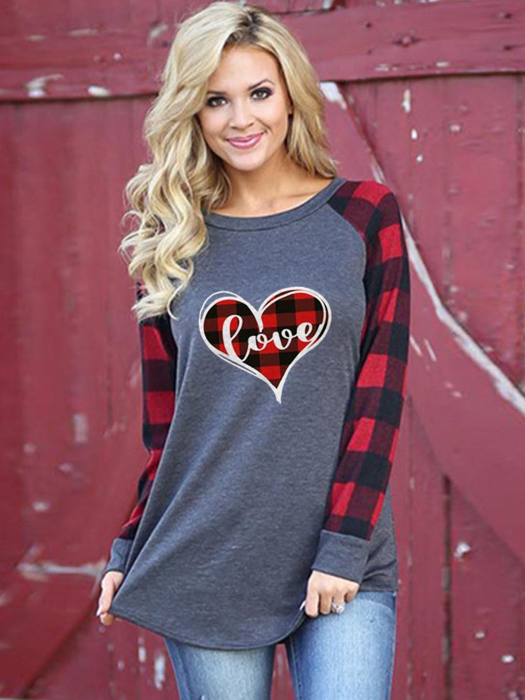 Women's Valentine's Day Love Check Print Casual Top - sheadora