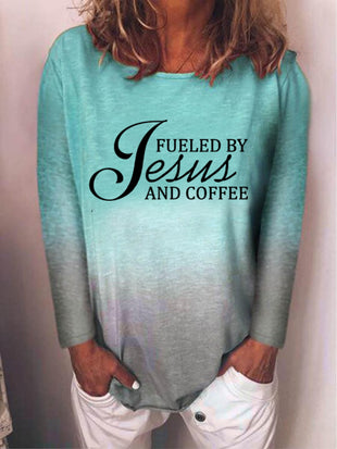 Women's Fueled By Jesus And Coffee print long sleeve T-shirt