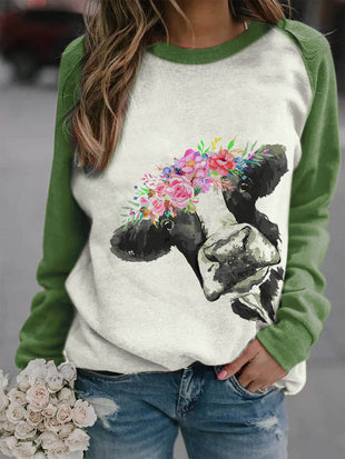 Women's Cow With Flowers Print Casual Sweatshirt