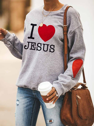 I Love Jesus Heart Print Long Sleeve Pullover