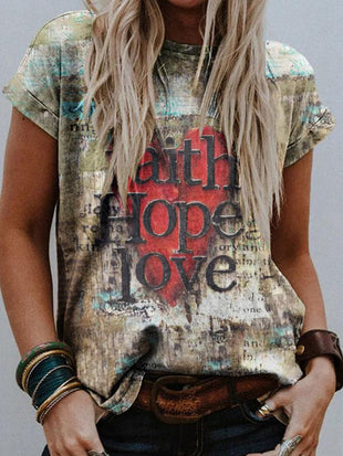 Women's Faith Hope Love Printed Short Sleeve T-shirt