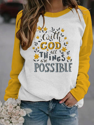 Women's With God All Things Are Possible Print Sweatshirt
