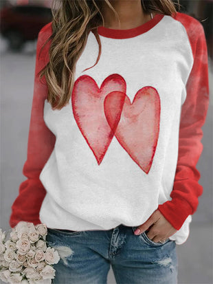 Ladies Watercolor Love Print Sweatshirt