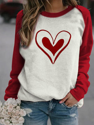 Women's Valentine's Day Peach Heart Printed Casual Sweatshirt