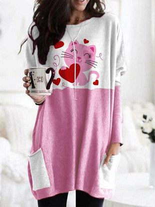 Women's Cute Cat Print Long Shirt