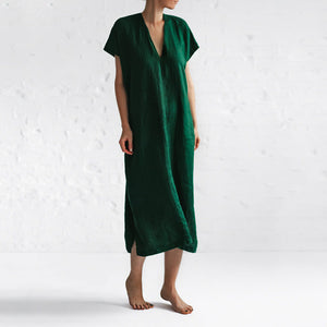 Casual V-neck Short-sleeved Loose Solid Color Cotton And Linen Dress