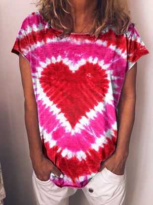 Women's Valentine's Day Love Printed Tie Dye Casua T-shirt