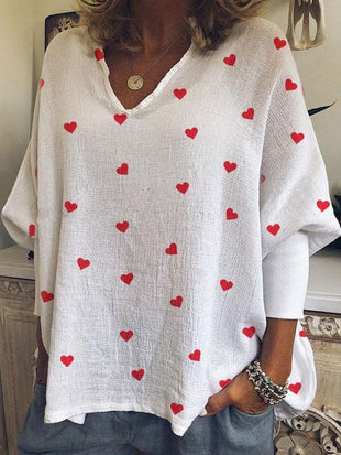 Woman's Heart Print Cotton And Linen T-shirt