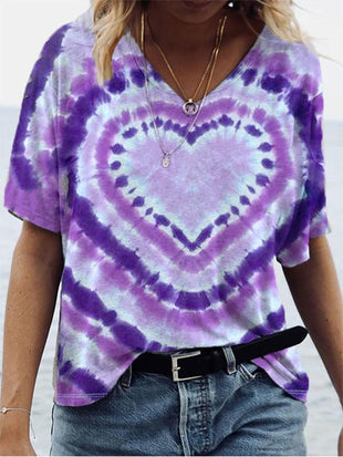 Ladies tie-dye love printed purple casual top