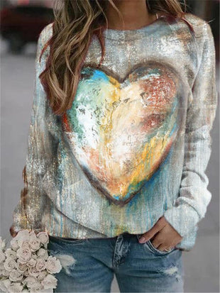 Women's Love Tie-Dye Printed Long Sleeve Round Neck Pullover Sweatshirt