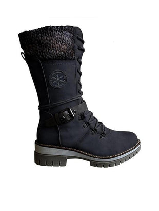 Women's Buckle Lace Knitted Mid-calf Warm Boots