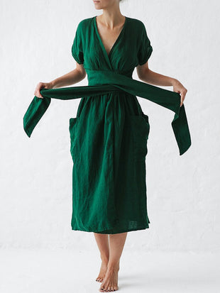 Sexy V-neck Cotton and Linen Belt High Waist Short Sleeve Dress