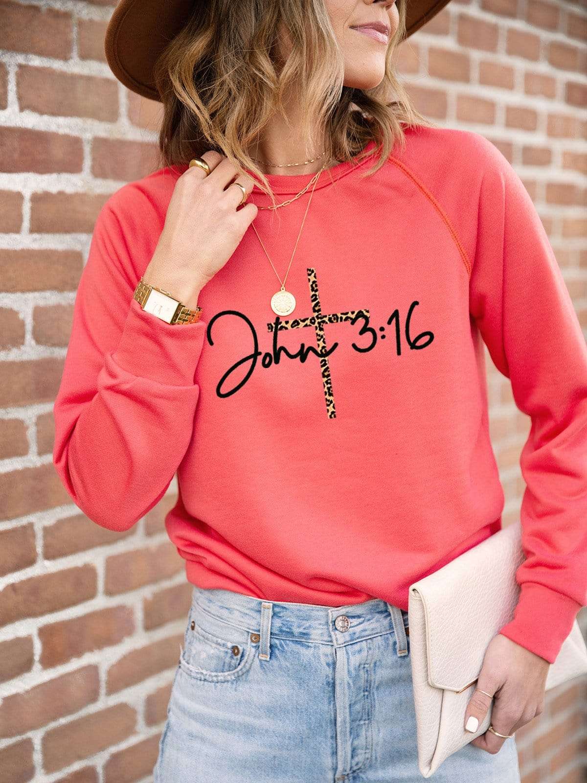 Women's John 3:16 Cross Printed Casual Top