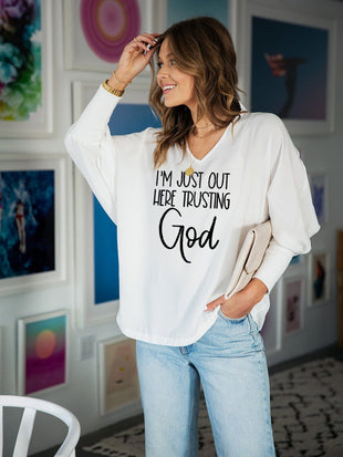 Women's I'm Just Out Here Trusting God Printed Long Sleeve T-shirt