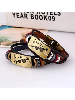 Lovers Braided Rope Arrow Pierced Heart Valentine's Day Gift Leather Bracelet