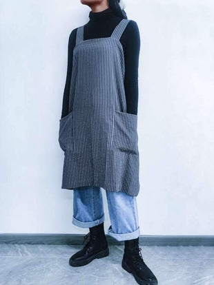 Vintage Cottage Home Garden Double Pockets Striped Apron Pinafore Dress
