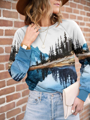 Ladies landscape printed round neck Sweatshirt