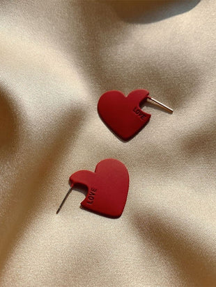 Ladies Red Heart Stud Earrings Earrings