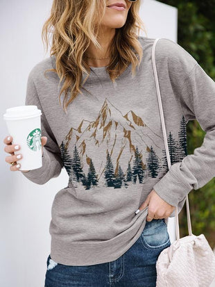 Lady treetop Mountain landscape printed casual Sweatshirt