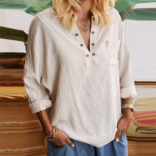 Casual solid color long-sleeved shirt top
