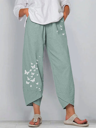 Cotton  linen butterfly print wide-leg pants