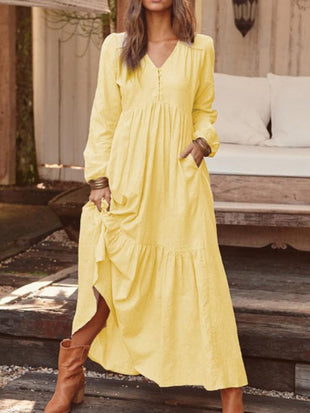 Ladies Cotton and Linen Casual Long Sleeve Dress