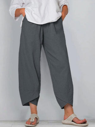 Women's loose cotton and linen elastic waist wide-leg pants