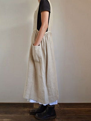 Loose Cotton And Linen Sleeveless Maxi Dress