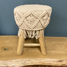 Load image into Gallery viewer, Round Mango Wood Macrame Stool