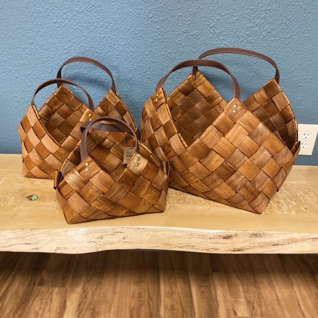 Woven Seagrass Baskets w/ Leather Handles