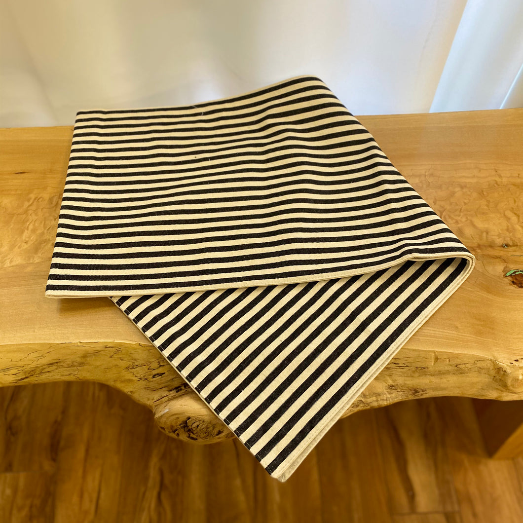 Cotton Striped Table Runner in Black
