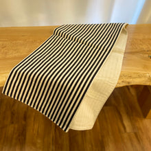 Load image into Gallery viewer, Cotton Striped Table Runner in Black