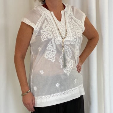 Embroidered Short Sleeve Tunic