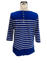 Load image into Gallery viewer, Liz Claiborne Elbow Length Blue & White Striped Shirt
