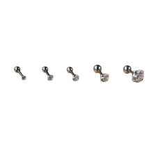 Load image into Gallery viewer, Classical Elegant Style 2pcs Stainless Steel Zircon Stud Earrings 2mm to 8mm