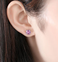 Load image into Gallery viewer, Simple Sterling Silver Zircon Crystal Round Stud Earrings