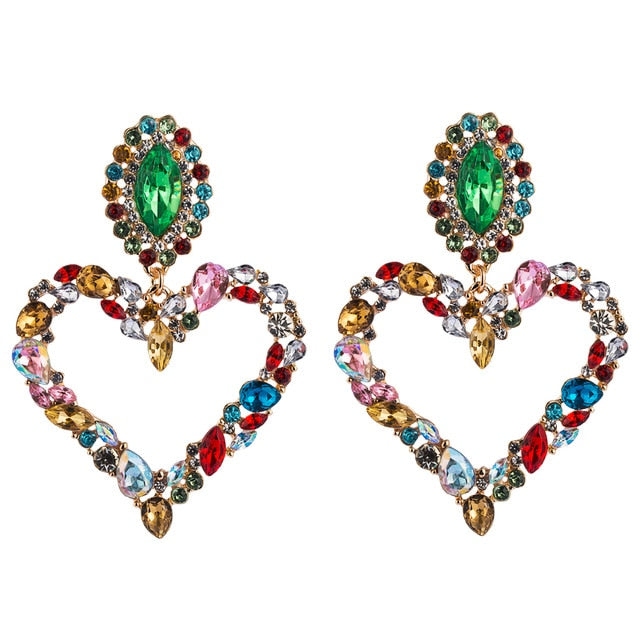 Beautiful Baroque Heart Drop Earrings Inlaid with Water Drop Color Rhinestones