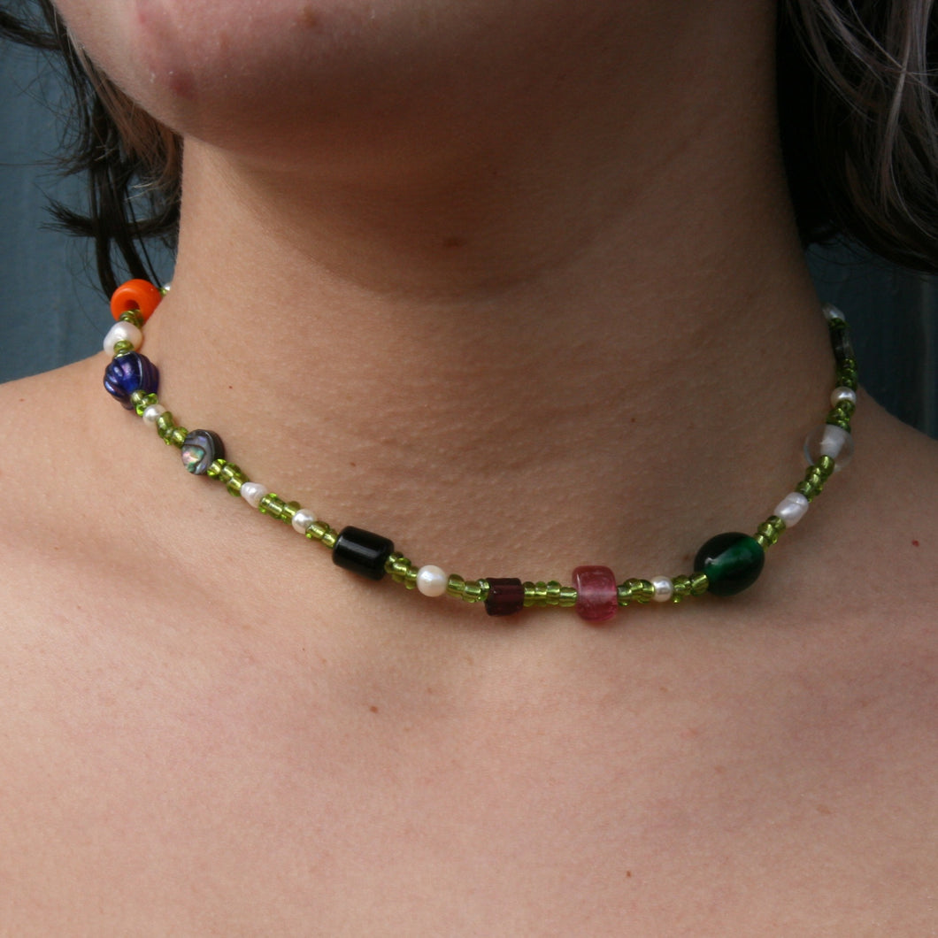 crazy green & stone necklace
