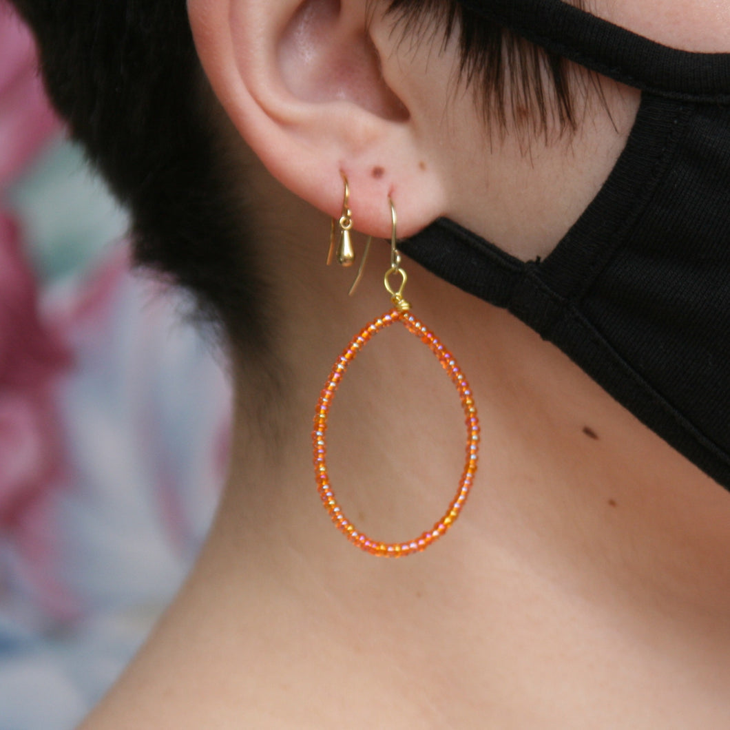 orange tear drop hoops