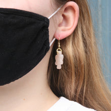 Load image into Gallery viewer, pink jade ribbon earrings