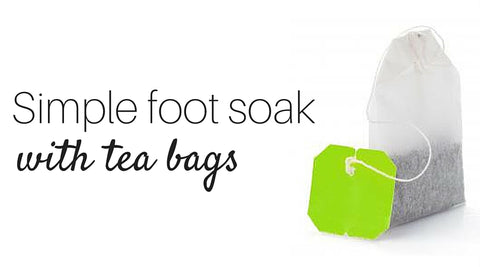 Foot soak with tea bags