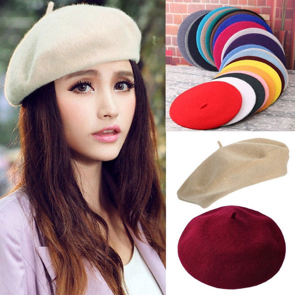 Elegant Lady Women Bonnet Cap Solid Color Wool Felt Berets  Winter Spring French Classic Wool  Hat Comfortable Walking Cap