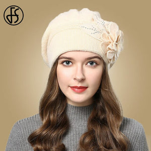 FS Women Berets Knitted Wool Hats Winter Flowers Warm Female Cap Girls Beanies Rabbit Fur Hat Gorros Bonnet Femme Hiver 2020