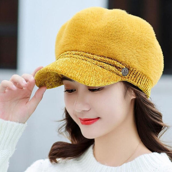 BINGYUANHAOXUANLadies Fashion Winter Rabbit Fur Berets Newsboy Hat Cotton Hat Women's Winter Hats 2019 Beret Hat Fur Gorra Boina