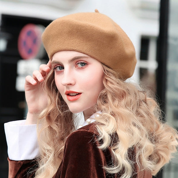 100% Pure Wool Beret Hat Women Felt Beret British Style Fashion Girls Beret Hat Lady Solid Color Slouchy Winter Hats Female