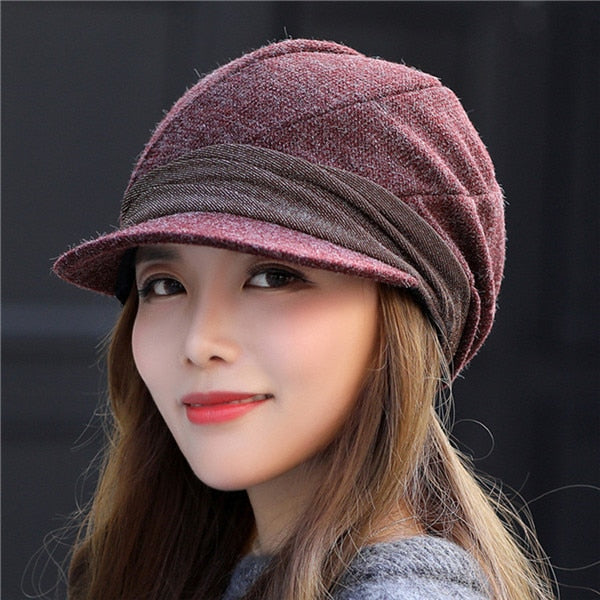 2020 Hot Octagonal Hats For Women Solid Color Retro Octagonal Caps Soft Newsboy Caps Visor Cap Female Winter Hats