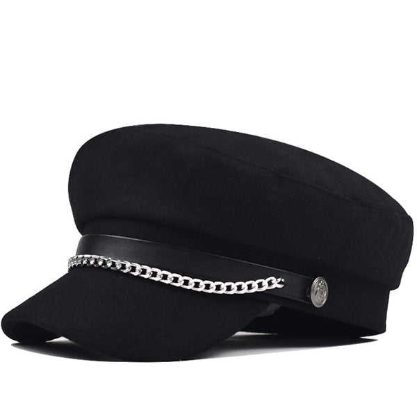 utumn Winter Chain Black Wool Military Berets for Women Female Flat Army Cap Salior Hat Girl Travel Berets Ladies Painters Cap