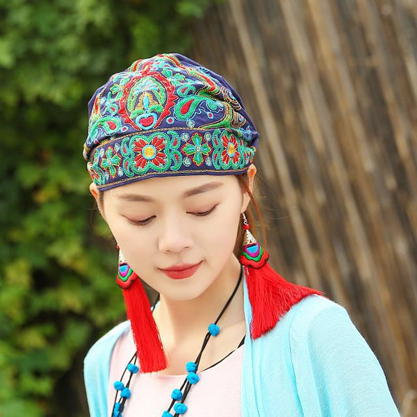 Women Mexican Style Ethnic Vintage Embroidery Flowers Travel Bandanas Red Print Hat Winter Leisure Boho Hats for Women 5 Colors