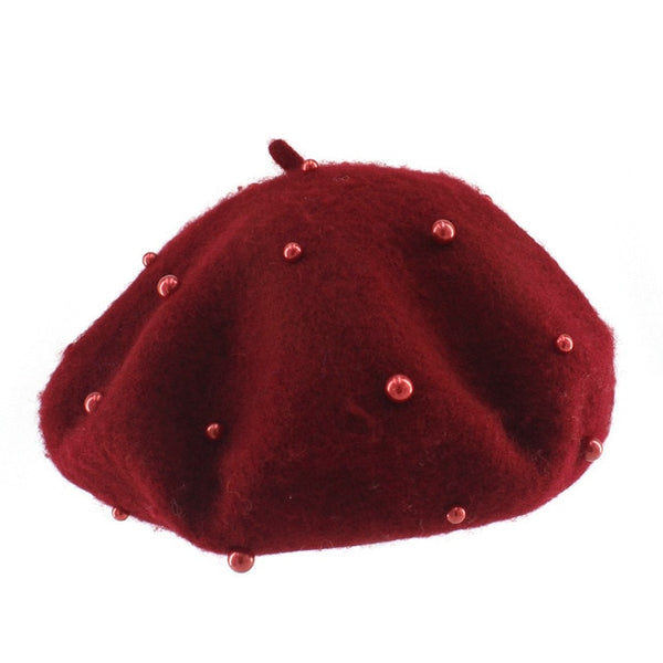 Fashion Wool Kids Hat with Pearls Candy Color Retro Baby Girl Cap Kids Beret Hats for Girls 3-7 Years 1PC