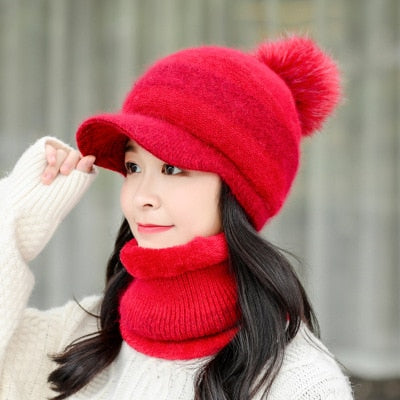 New Female Warm Rabbit Fur Knitted Hat And Scarf Set Woman Plus Velvet Collar Thickening Hats Set Winter Beret Hats For Ladies